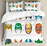 Juego de ropa de cama de superhéroe, máscara de héroe masculino Pantalla de iconos...