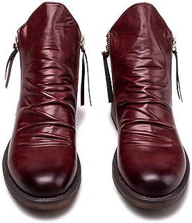 LUXDAMAI Bottes Western Martin Bottines pour Hommes Grande Taille Chaussures d'affaires Classiques à Glissière Latérale Bo...