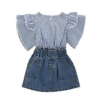 Toddler Baby Girl Outfits Striped Shirt Ruffle T-Shirt Short Sleeve Blouse Denim Skirt Set Summer Clothes Set  Blue 6-7 Years