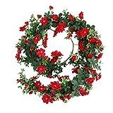 JUSTOYOU Rose Murraya paniculata Guirlande Faux Soie Suspendue Rose Rouge Vigne Fleurs Lierre Plantes Suspendus Feuilles pour la Fête De Mariage Mur Mur Valentine Décor (5.7ft,Rouge)
