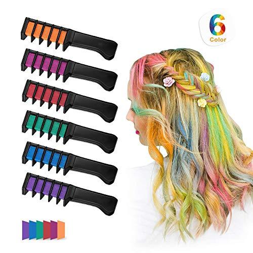 Beito 6 Farben/Set TemporäRe HaarkreidekäMme Haarkreide-Kamm Ungiftig HaarfäRbemittel Haarfarbe Kamm Waschbar Lebendige Helle Haarfarbe Set FüR MäDchen, Party, Cosplay