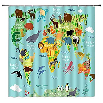 WZFashion Cartoon Kids World Map Shower Curtain Ocean Animal Funny Educational Tourist Colorful Geography World Map for Children Bathroom Curtain Fabric 70 x 70 Inch with Hook Teal