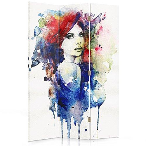 Feeby Frames Il paravento Stampato su Telo,Il divisorio Decorativo per Locali, unilaterale, a 3 Parti (110x150 cm), Donna, Multicolore