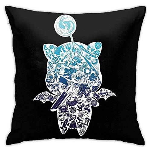 out Moogle-Verse (Blue) Cushion Throw Pillow Cover Decorative Pillow Case For Sofa Bedroom Fundas para Almohada 16x16Inch(40cmx40cm)