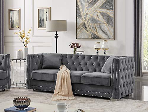 Iconic Home Christophe Sofa Velvet Upholstered Button Tufted Nailhead Trim Shelter Arm Design Silver Tone Metal Block Legs Modern Transitional, Grey