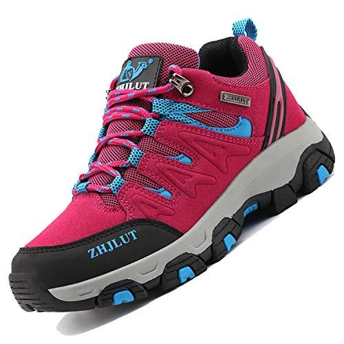 Unitysow Scarpe da Trekking Uomo Donna Arrampicata Sportive All'aperto Scarpe da Escursionismo Sneakers Unisex Impermeabili Traspiranti Passeggiate Stivali 35-47,Rosa Rossa-2,EU39
