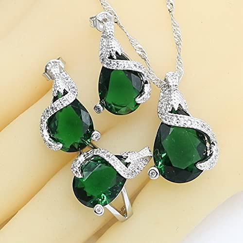 Juego de joyería verde conjunto de joyas para señora, pendientes, collar, pulsera y anillo de regalo (color de la gema: 3 piezas, tamaño del anillo: 10)