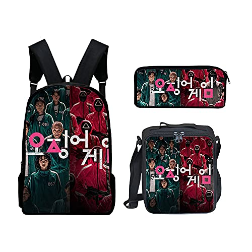 MISSLYY 2021 Squid Game Backpack, Drama Coreano Mismo PáRrafo Mochila De Moda Nailon Impermeable Bolsa De Viaje Informal Colocar