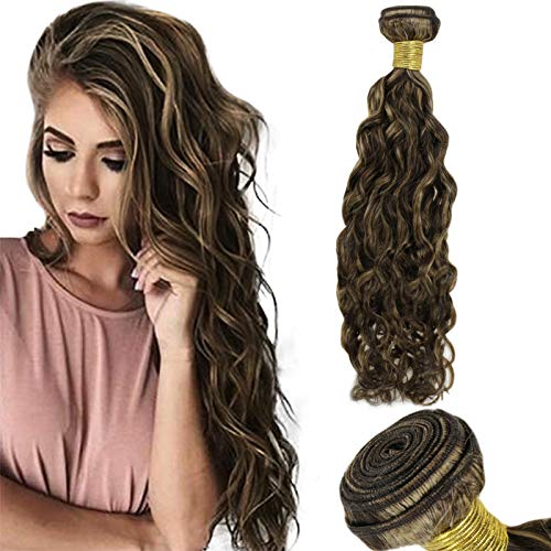 RUNATURE Human Hair Weft Sew in Weave Highlight Blonde Curly Hair Extensions 18 inch Natural Wave Curly Hair Bundle Extensions 100g
