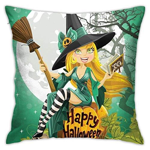 NHJYU 18 X18 en Alegre niña Sonriente en Disfraz de Halloween en una Funda de Almohada de Calabaza Gigante de la Luna del Bosque, Funda de Almohada del Dormitorio del sofá casero