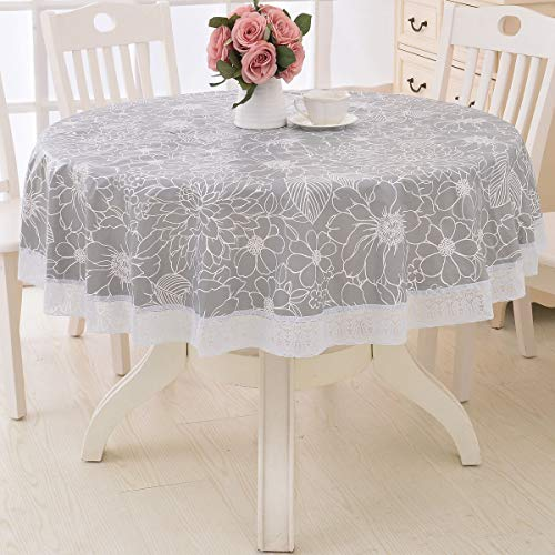 Round Vinyl Oilcloth Lace Tablecloth Waterproof PVC Plastic Wipeable Spillproof Peva Heavy Duty Tablecloth Patio with Flannel Backing Grey Flower 70 Inch