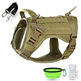 Tactical Dog Harness,K9 Military Walking Service Dog Vest Adjustable Training Hunting with Molle System & Rubber Handle