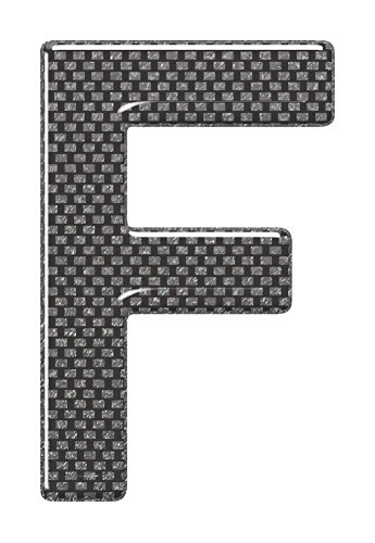 3D Resin/Gel Domed Self Adhesive Number Plate Letter 'F' (Carbon)
