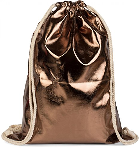 styleBREAKER Turnbeutel im Metallic Look, Sportbeutel, Rucksack, Beutel, Unisex 02012117, Farbe:Bronze Metallic