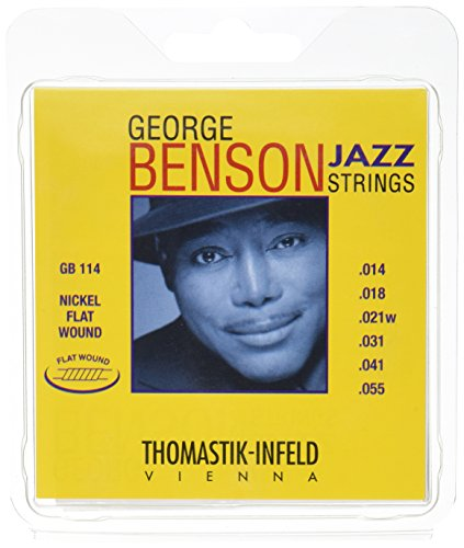 Thomastik-Infeld GB114 Jazz Guitar Strings: George Benson 6 String Set - Pure Nickel Flat Wounds E, B, G, D, A, E Set