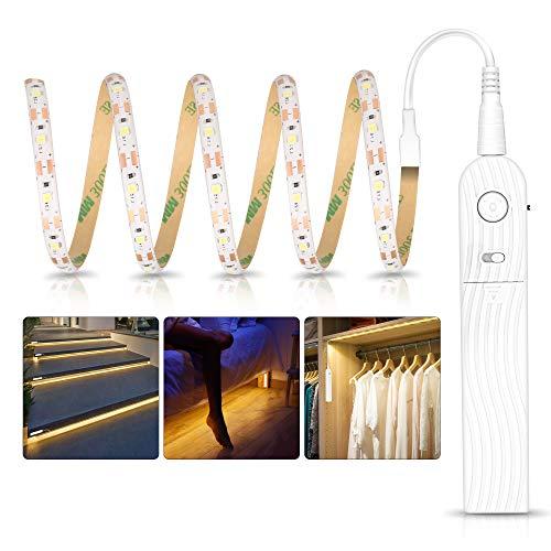 Tira Luz Cuerda 1M, Tira de Luces LED con Sensor de Movimiento, Luz Armario, Luz LED Nocturna Pilas, Decoración Iluminación para Dormitorios, Cocina, Escaleras, Baño, 3500 – 6500 K luz blanca cálida