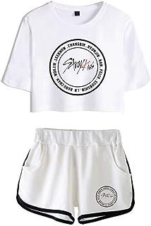 FEIRAN Stray Kids Boy Band Short Shorts de Manga Corta para Mujer y niña Top + Shhort Set B White + White XS