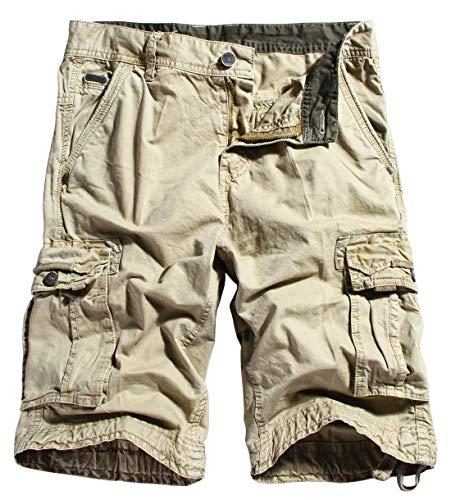 chouyatou Men's Casual Elastic-Waist Loose Multi-Pocket Chino Cargo Work Shorts (40, Cargo-Khaki)