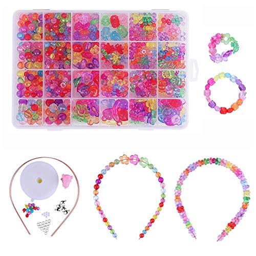 QH-Shop Abalorios perlas de resina de plástico de colores con 24 compartimentos...