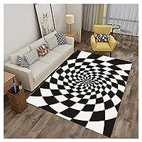 寝室/居間/廊下の装飾用敷物用の3D長方形敷物、格子スプライシングおよび滑り止め付き渦巻き絨毯,Black 2,80X160CM