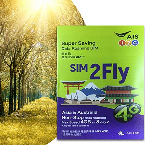 AIS Prepaid SIM-Karte Asien – 4 GB Daten für 8 Tage Roaming in 18 Ländern – Japan, Südkorea, China, Malaysia, Indonesien (Asien - 4 GB / 8 Tage / 18 Länder)