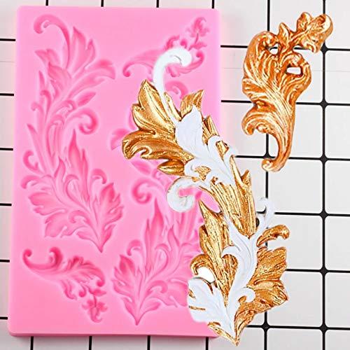GEYKY Barock Scroll ReliefKuchen Dekorationswerkzeuge Kuchen Rand Silikonformen Cupcake Schokolade Gumpaste Candy Clay...