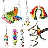 Vegena 7 Piezas Juguetes para Pájaros Juguete para Periquitos Juguete Colgante para Mascotas con Campanas Columpios Juguete de Masticación para...