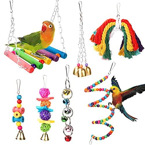 Vegena Vogelspielzeug 7 Stück, Wellensittich Spielzeug Bunten Papagei Spielzeug Schaukel Kauspielzeug Vögel Spielzeug für Sittiche Nymphensittiche,Sittichen,Aras,Papageien,Love Birds
