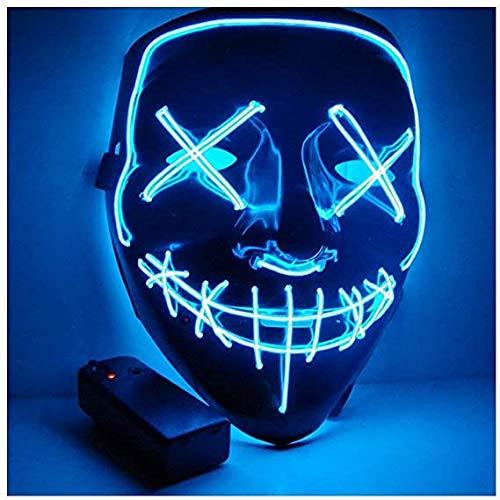 MISOSU Halloween Maske LED Mask mit 3 Blitzmodi für Party Halloween Fasching Karneval Kostüm Cosplay Dekoration Halloween Purge Maske (Blau)