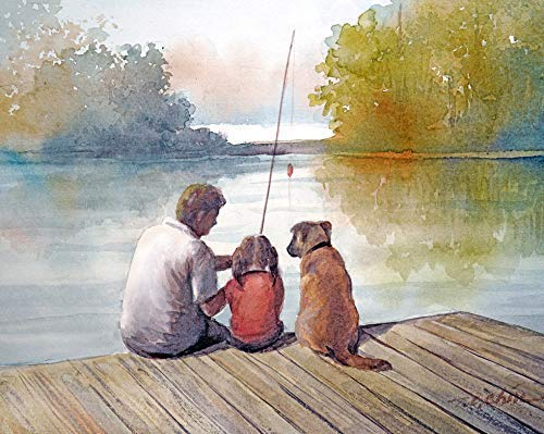 Amazon.com: Father and Daughter Fishing with their Dog - Art Print of  Original Watercolor - Lake, Family, Father's day gift Girl Gift: Handmade