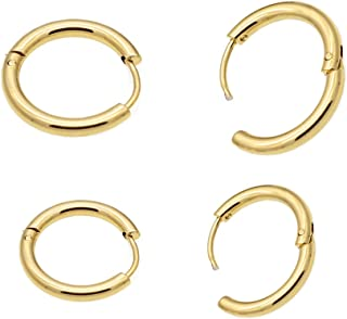 Hoop Earrings 316L Stainless Steel 8mm-10mm 2 Pairs for Women & Men's Ear Piercing (White & Gold Color)
