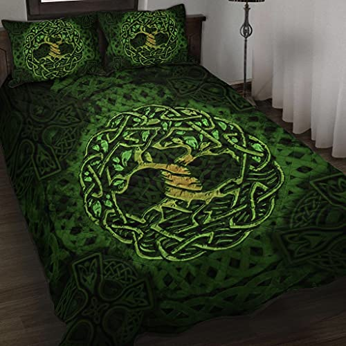 WINBACKING Celtic Quilt Bed Set Celtic Tree of Life Vintage Style Bedding Set 3 Pieces Quilt Cover with Pillowcase Cover Soft Comfortable for Kids Parents US Twin Queen King Size