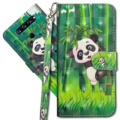 MRSTER LG V40 ThinQ Handytasche, Leder Schutzhülle Brieftasche Hülle Flip Hülle 3D Muster Cover mit Kartenfach Magnet Tasche Handyhüllen für LG V40 ThinQ. YX 3D - Panda Bamboo
