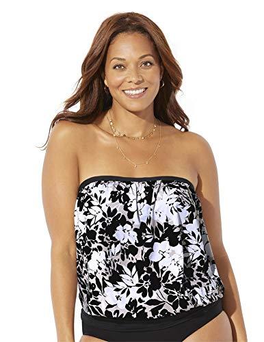 Swimsuits For All Women's Plus Size Bandeau Blouson Tankini Top 24 Neutral Floral Beige