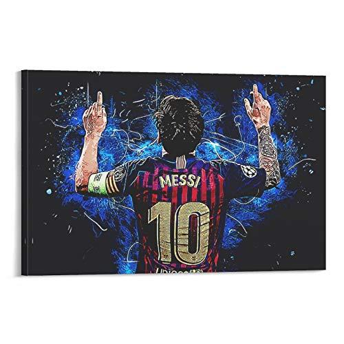 Póster de Lionel Messi con texto en inglés «He Is now Playing for The Leading Team Barcelona en la Liga de Fútbol Española - Póster moderno para dormitorio familiar (20 x 30 cm)