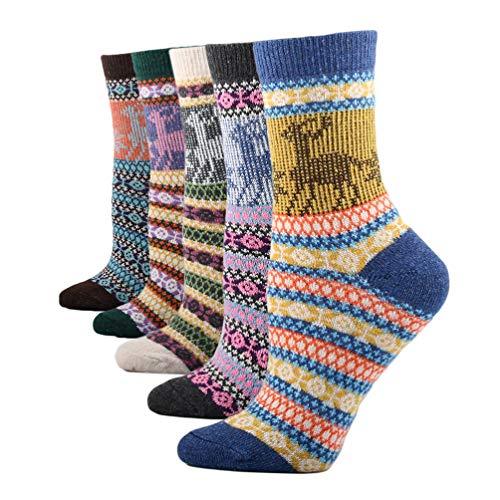 FENICAL calcetines de lana mujeres calcetines étnicos de navidad calcetines gruesos de invierno para mujeres damas 5 pares