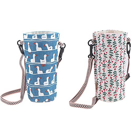 RUIYELE 2 paquetes de bolsas portátiles de la cubierta de la botella bolsas de la taza del lino del algodón de la impresión