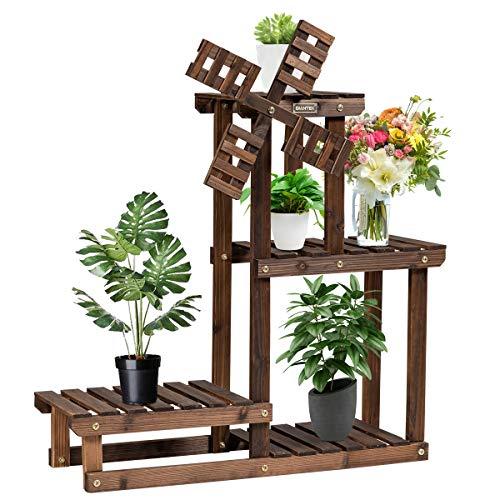 CASART. Wooden Plant Stand, 4-Tiers Windmill Pots Holder Storage Display Shelf, Outdoor Indoor Ladder Flower Rack for Home Garden Balcony Patio Decoration