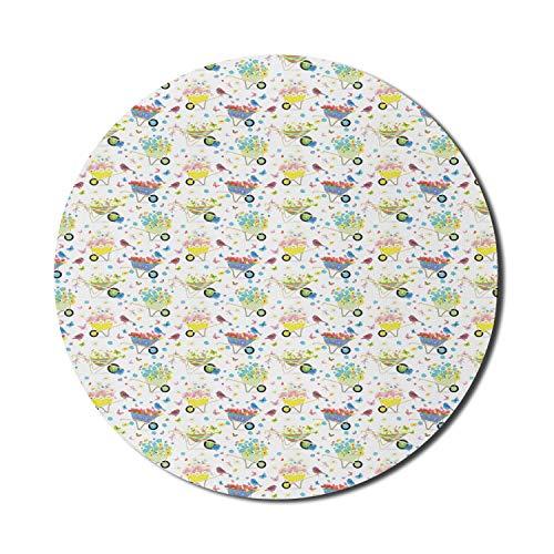 Gartenmaus-Pad für Computer, Regenbogen-Streifen- und Karomuster-Schubkarren voller wilder Blumen und Vögel, rundes, rutschfestes, dickes, modernes Gaming-Mousepad aus Gummi, 8 'rund, mehrfarbig