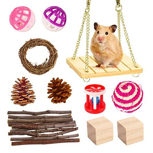 ershixiong Juguetes de cerdo de indias de hámster, juguete de hámster conjunto de ejercicio animal y masticar juguetes para conejillo de indias aves pequeñas mascotas jugar juguete