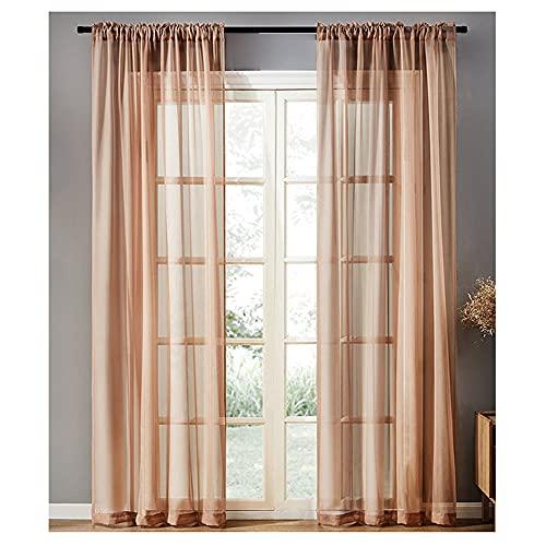 Jilibaba Cortinas de gasa de color marrón clásico con bolsillo para barra para cocina, sala de estar, dormitorio, balcón, 2 paneles W100 x L270