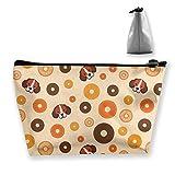 Hunde und Donuts Make-up-Tasche Große trapezförmige Aufbewahrung Reisetasche Waschen Kosmetikbeutel Stifthalter Reißverschluss Wasserdicht