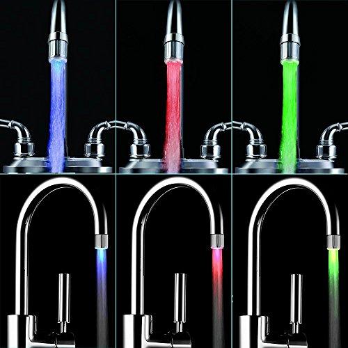 LED Wasser Wasserhahn ändert sich die farbe je nach Temperatur auf der Wasser. Blau für Cool, grün für Warm, rot für Hot. Passt Männlich & Innengewinde Wasserhähne perfekt für Küchen und Badezimmer von toilight - 9