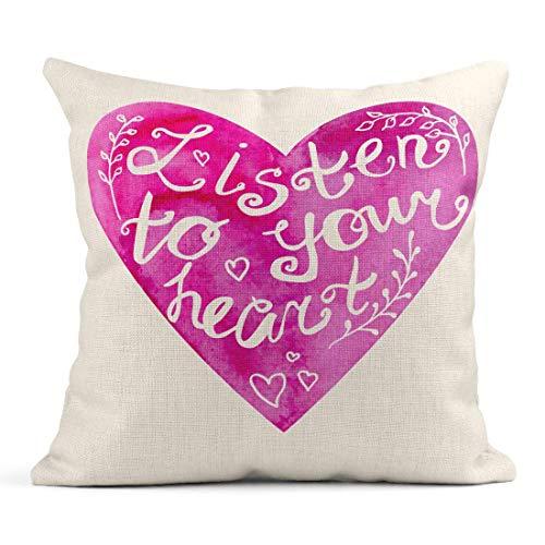 Kinhevao Coussin Violet inspiré de la Phrase d'aquarelle Rose Écoutez Votre Slogan de Motivation sur l'objet Lumineux Coussin en Lin Coussin décoratif pour la Maison