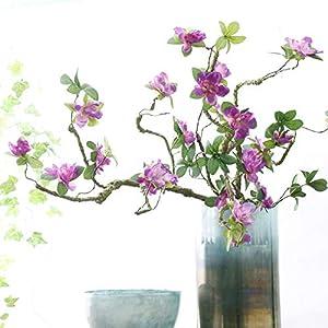 Artificial Rhododendron Artificial Flower Fake Flower Decoration Foam Branch Soft Shape Azalea rhododendra (Purple)