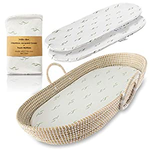 Baby Changing Basket for Nursery Changing Table Set. Baby Moses Basket, Thick Diaper Changing Pad and 3 Premium Bamboo Jacquard Covers. Natural Hand-Woven Seagrass Basket, Beautiful Baby Shower Gift