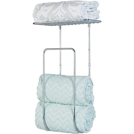 mDesign Metal Wall Mount Towel Rack Holder Organizer with Storage Shelf