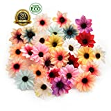 silk flowers in bulk wholesale Rose Artificial Silk Daisy Rose Flowers Wall Heads for Home Wedding Decoration DIY Wreath Accessories Craft Fake Flower 80Pcs 5cm (Multicolor)