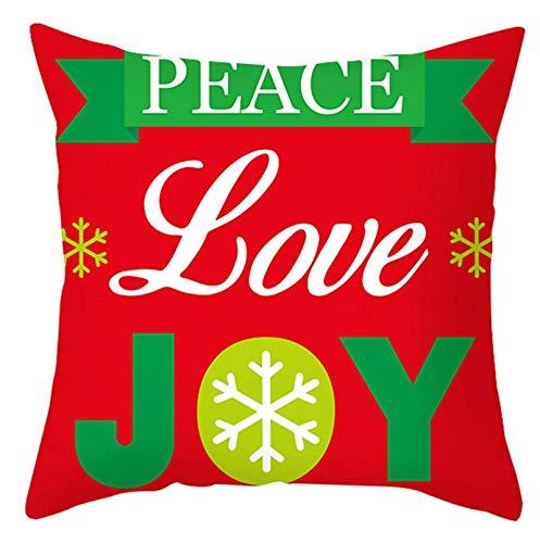 ANAZOZ 1 Funda Cojin 50x50,Fundas Cojin Poliéster Peace Love Joy Copos de Nieve Rojo Verde Blanco Style 1