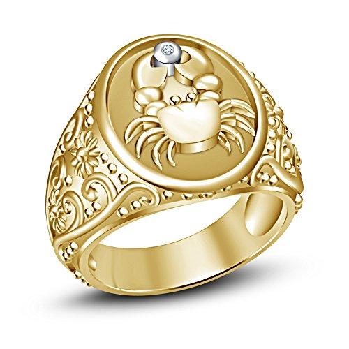Moda Vorra 14 K chapado en oro blanco Rd CZ 925 plata esterlina Anillo de los hombres de signo DE Zodiaco Cáncer de Mama